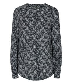 Freequent Sari blus svartvit